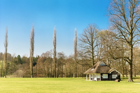 chatsworth: Cricket pavilion in the grounds of Chatsworth House, Peak District, England. Stock Photo