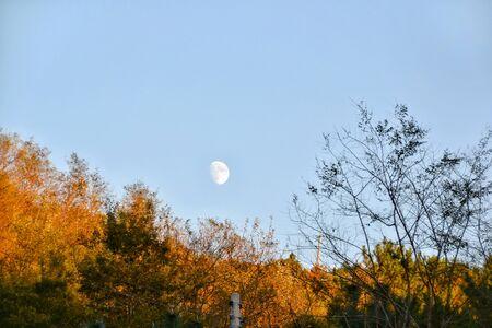 Autumn moon at Seoraksan National Park Stock Photo