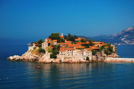 sveti: View of the Sveti Stefan island, Montenegro