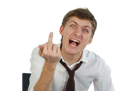 middle finger: Angry young man showing middle finger. Isolated