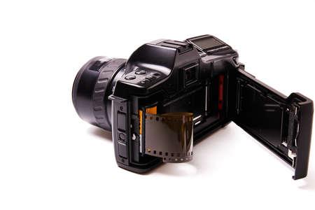 Analog black camera with 35mm photo reel