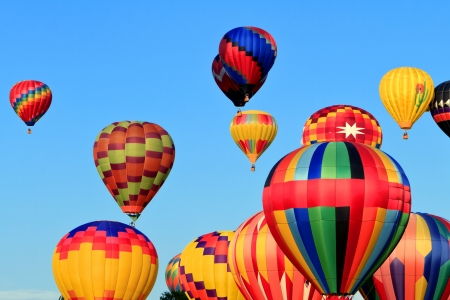 hot air balloons over blue sky  Stock Photo - 12942280