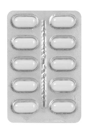set of white pills in blister pack Standard-Bild