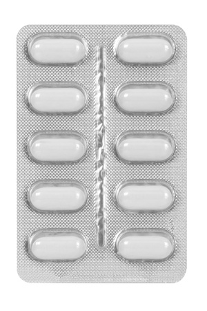 set of white pills in blister pack Imagens
