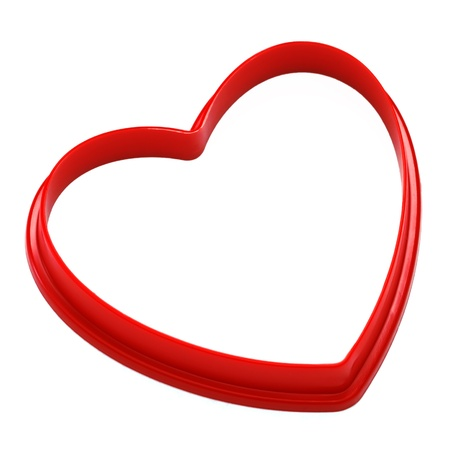 heart shaped: red heart shape over white background