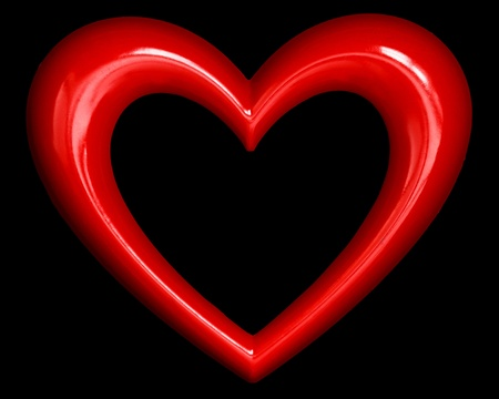 red heart shape over black background Stock Photo - 13321831