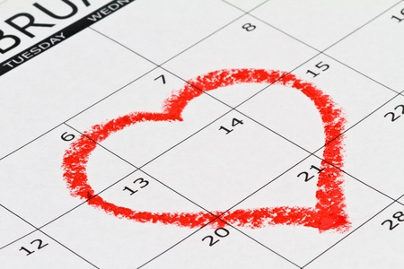 drown: heart shape drown on calendar, Valentines day