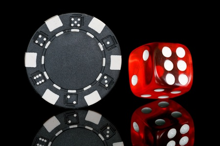 black poker chip with dice  photo