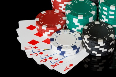 poker chips with royal flush Stock Photo - 13188367