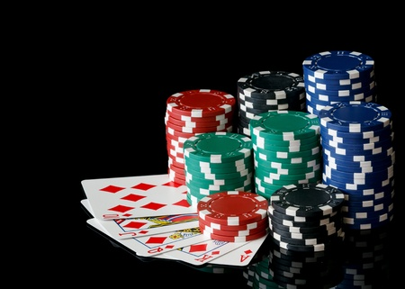 royal flush: poker chips with royal flush