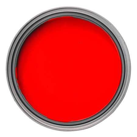 can with red paint over white background, clipping path 스톡 콘텐츠