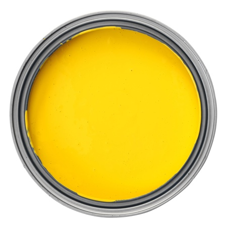top angle view: can with yellow paint over white background