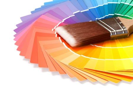 페인트 견본와 페인트 브러시 스톡 콘텐츠