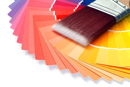 paint brush with paint swatches Stock Photo - 13310460
