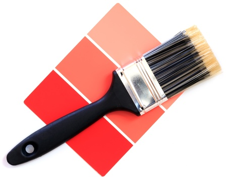 red color swatch with paintbrush photo