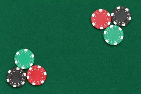 poker chips over table layout Stock Photo - 13188498