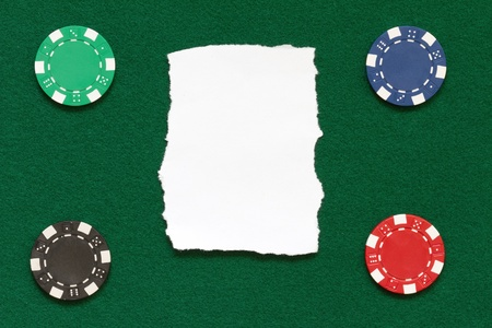 poker chips over table layout Stock Photo - 13188454