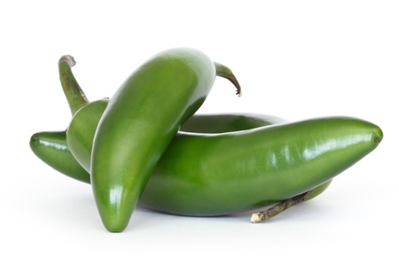 serrano peppers isolated on white  Banco de Imagens