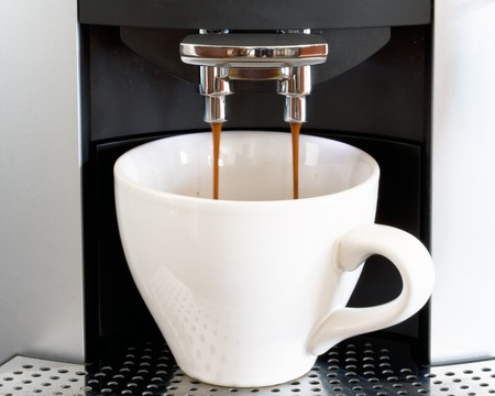 with coffee maker: hot coffee from espresso machine