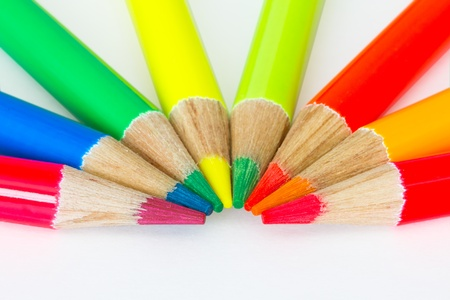 descriptive colours: colorful pencils isolated on white background  Stock Photo