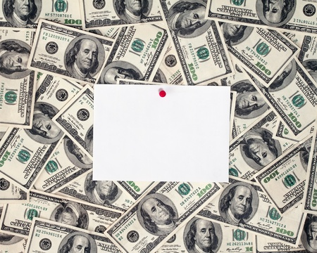 hundred dollar bills with note paper photo