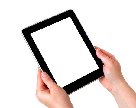 blank tablet: digital tablet in hands over white background