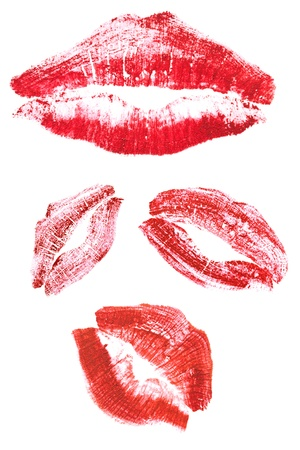 lip kiss: collection of lips isolated on white background  Stock Photo
