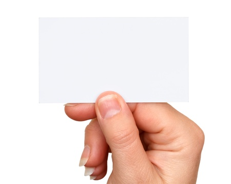 hand business card: business card in hand on white background