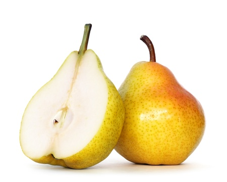 pears over white background with clipping path