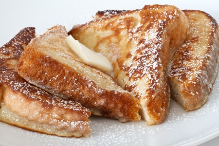 french bread: french toast with butter  Stock Photo