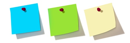 paper pin: colorful notes over white background  Stock Photo