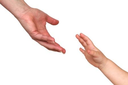 reaching hands: twee verstrekkende handen geïsoleerd op witte achtergrond Stockfoto