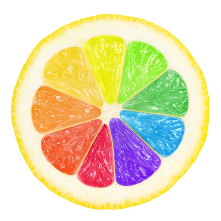 colorful slice of lemon with clipping path for each color photo