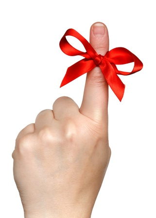 finger bow: finger with red bow