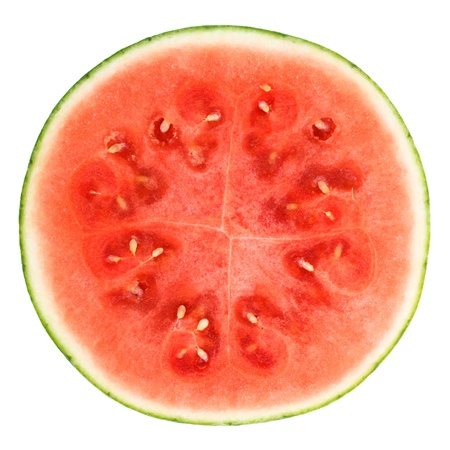 cut: slice of watermelon over white background Stock Photo
