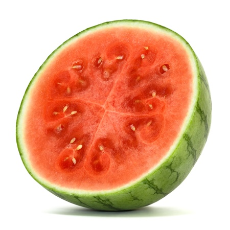 cut up: watermelon over white background  Stock Photo