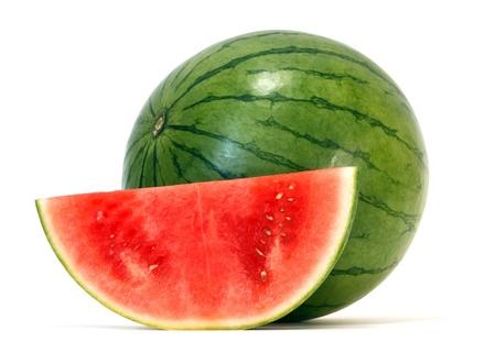 melon fruit: watermelon over white background  Stock Photo