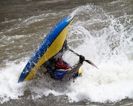 man in kayak, freestyle competition\
