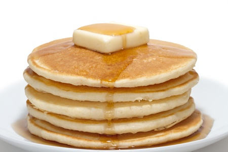 pancakes: pancakes with butter and syrup