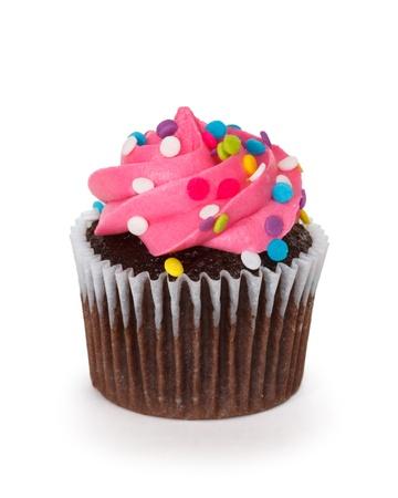 decoracion de pasteles: cupcake sobre fondo blanco Foto de archivo