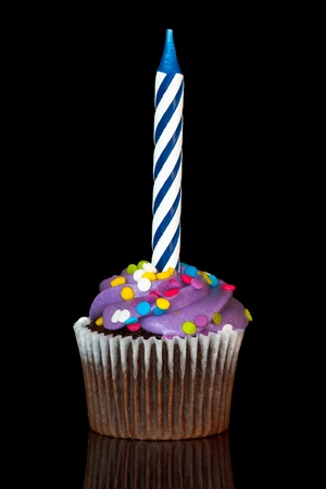 cupcake with candle over black background  photo