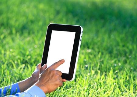 hands on digital tablet photo