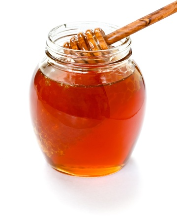 jar of honey with dipper Stock Photo - 13328753