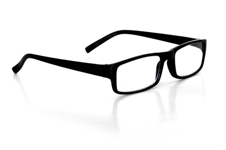 opthalmology: reading glasses over white background