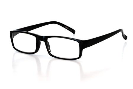 reading glasses over white background
