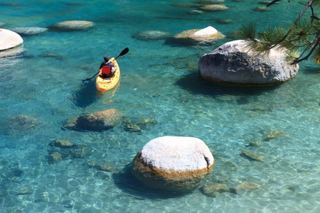sand harbor: kayaker, Lake Tahoe