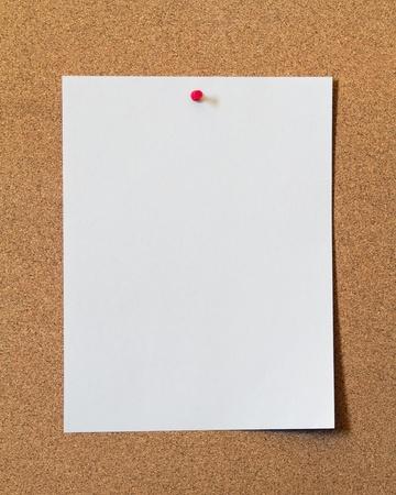 paper on cork board