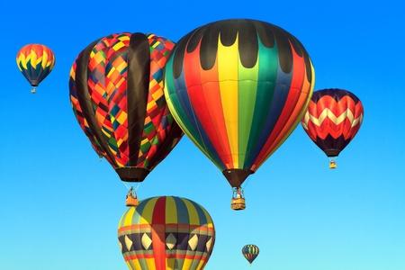 hot air balloons over blue sky  Stock Photo