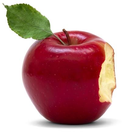 사과: 물어와 빨간 사과 스톡 사진