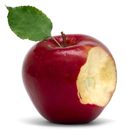 mela rossa: mela rossa con morso Archivio Fotografico